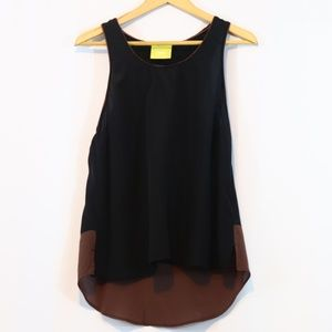 Anthropologie Maeve Silk Black Brown Tank Top